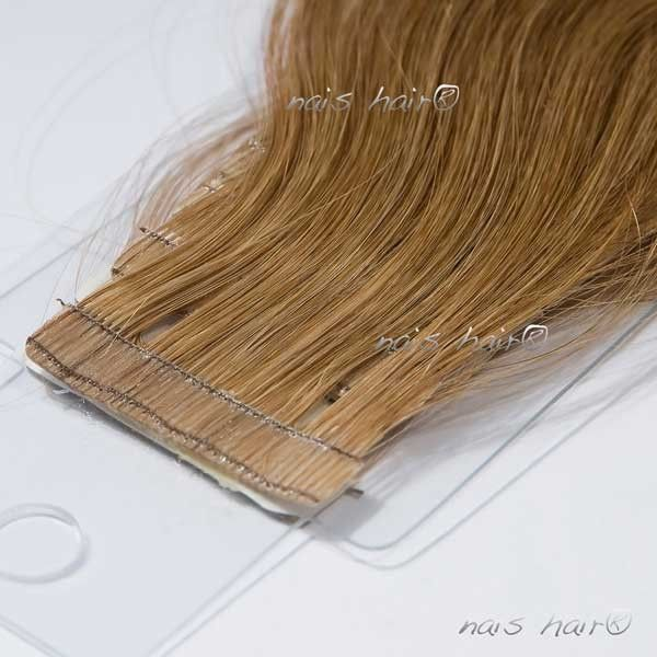Tape Hair Extensions Wavy 8 Light Brown 20 Inch