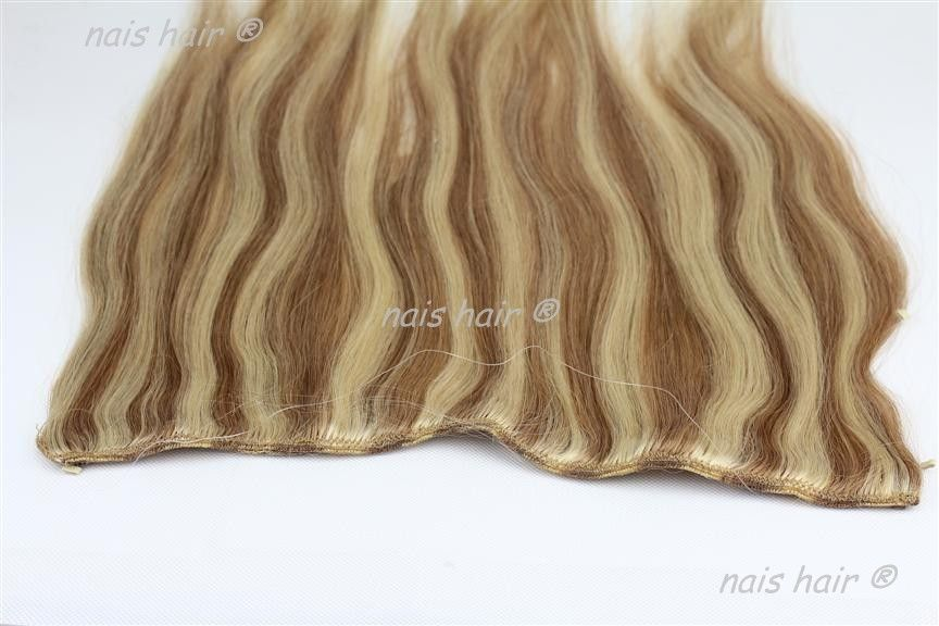 100 Remy Human Wavy Fish Wire Hair Extension 50 Cm 12 Colors